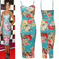 Womens Spring Floral Strappy Print Dress Crepe Flower Bodycon Midi Dress Celeb