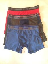 Men's Puma Performance Boxers Trunks Briefs 3 Pack Pairs Red Green Blue Size L