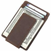 RFID Vintage Men Real Leather Slim Money Clip Card ID Holder Front Pocket Wallet