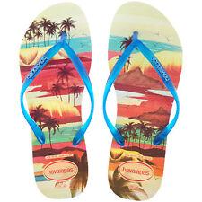 New HAVAIANAS Slim Paisage Blue/Beige Illustrated Beach Flip Flops Slippers UK 4