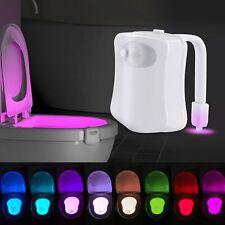 Motion Activated Sensor LED Toilet Night Light 8 Color Change Bathroom Seat Lamp
