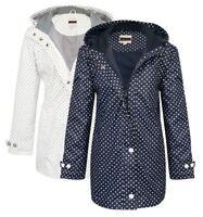 New Womens Lined Showerproof Coat Ladies Spotted Hooded Jacket Mac