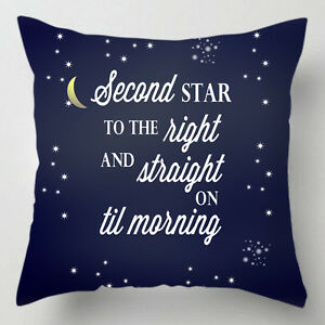 Second star the right peter pan quote cushion / pillow
