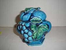Vintage Mid 1970's Inarco Blue Indigo Fruit Single Footed Lidded Sugar Bowl
