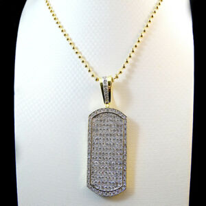 NEW WHITE LAB SIMULATE ON 14K YELLOW GOLD FINISH DOG TAG PENDANT & NECKLACE SET