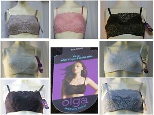 NWT Olga 35263 Pretty Lace Cami Bra Positively Fitting 34 36 38 40 42 White Blac