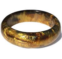 HUGE Mod Lucite Bangle Bracelet Green Yellow Earthy Brown Gold Specks Swirls