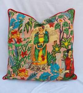 20x20 Indian Pillow Case Cover Home Décor Cover Frida Khalo Piping Cushion Cover