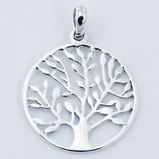 Sterling Silver 26mm Tree of Life Nature Pendant Mother Earth Womens Genuine 925