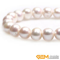 """Natural Gemstone White Pearl Near Round Loose Beads For Jewelry Making 15""""Strand"""
