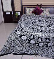 Noir et Blanc Éléphant Mandala Housse de Couette Indien Reine Taille Ethnique