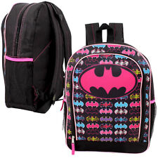 "DC SUPER GIRL BATGIRL 16"" Backpack School BookBag w Front Pocket BATMAN LOGOS PK"