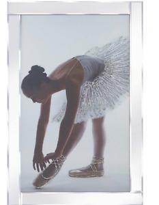 Glitter Ballerina on Mirrored Frame Wall Mirror 100x60cm home decor/gift