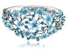 Blue Zircon Crystal Rhinestone Drawn Spring Floral Flower Bracelet Bangle Cuff