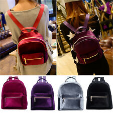 Womens Velvet Small Bag Shoulder Backpack School Travel Satchel Handbag Rucksack