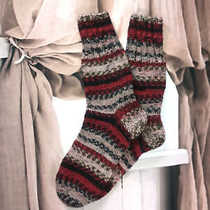 Size XL 7-8 Hand knitted colourful Ethnic Native Folk Style Cosy Lounge Socks