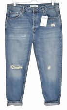 Topshop Boyfriend HAYDEN Blue RIPPED Frayed Crop LOOSE Jeans Size 10 12 W28 L32