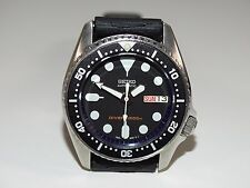 SEIKO SUBMARINER BEATER DIVERS AUTOMATIC WATCH 7S26-0030 38mm MED BLACK SKX013