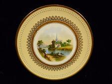 Aynsleys Hand Painted & Enamel Beaded Church & Castle Scenic Plate – Circa 1870