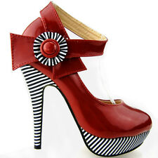 Ladies Red Ankle Strap Stripe High HEELS Platform Party Shoes UK Size 5