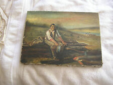 Vintage Folk Art Painting Abraham Lincoln