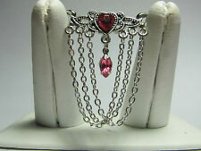 Pink Crystal Multi Chain Dangle Navel Belly Ring Body Jewelry 38mm x 40mm