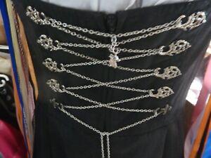 Miederkette, Dirndlkette , Farbe Silber, 1,6 m lang mit Hirschanhänger