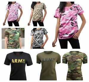 Womens Ladies Army Outdoor Gym Training Running Boot Camp Camo T-Shirt Top Tee
