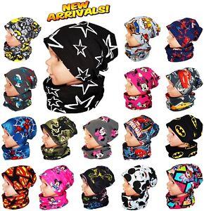 Baby Kids Boy Girl Hat Tube Scarf Spring Autumn Cotton 2 pc Set 1-2-4-8-12 Years