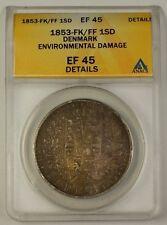 1853-FK/FF Denmark Specie Daler Silver Coin ANACS EF-45 Details Envir. Damage