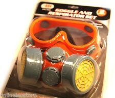 PROTECTIVE DUST FACE MASK RESPIRATOR & GOGGLES SET TWO GAS CARTRIDGE