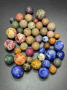 Vintage Lot Of 45 Civil War Era Clay Marbles Multi Colored Bennington Marbles