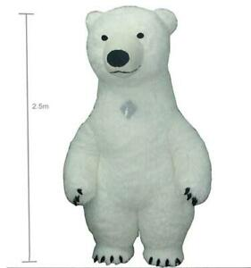 Polar Bear Inflatable Mascot 2.5m Long Fur Costume Advertising Party Fancy Dress