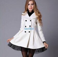 Elegant Women's Double Breasted Wool Blend Trench Coat Slim Fit Jackets Outwear