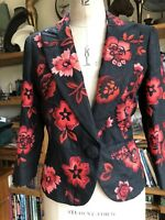 QUALITY SIZE 14 BLACK LINEN EMBROIDERED JACKET MARKS & SPENCERS RED FLOWERS