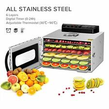 Kwasyo Stainless Steel 6 Tray Food Dehydrator BPA-Free, 30~90℃ Temperature