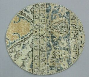"""Traditional Hand Knotted Vintage Turkish Round Rug Anatolian Wool Carpet 19""""x19"""""""