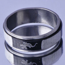 Classic Men's Lucky Band Ring White Gold Filled Stainless Steel Jewelry Size 9