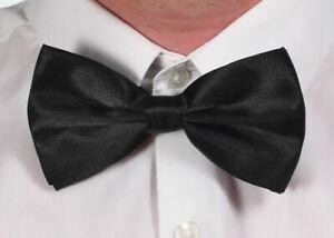 Black Satin Mens Pre Tied Plain Bow Tie Wedding Party Prom Dress Necktie Ties