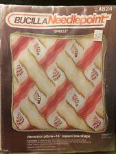 "Bucilla Needlepoint ""Shells"" 14"" Decorator Pillow #4824 Made in the USA NOS"