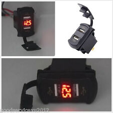 Red LED Rocker Push Switch Type Vehicles Off-Road Voltmeter Gauge 2 USB Charger