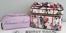 VICTORIA'S SECRET Blush Pink Floral Stripe Vanity Case & Make up bag Set BNWT
