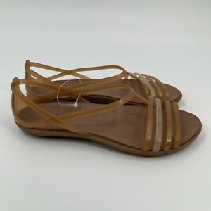 Crocs Womens Iconic Comfort Jelly Slip On Flat Beige Strappy Sandal Size 6