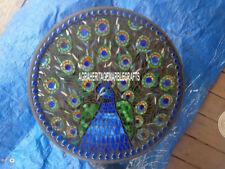 "12"" Makrana Marble Beautiful Plate Peacock Art Pietradura Inlaid Kitchen Decor"