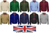 New Men's Vintage Collared Pocket Zip Up Harrington Tartan Inner Bomber Jacket
