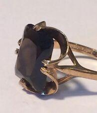 Vintage Smokey Quartz 9k Yellow Gold Ring Size 7.75