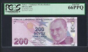 Turkey 200 Lira 2009 P227b Uncirculated Graded 66