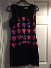Versace For H&M Silk Black Fringe Pink Hearts Dress UK10