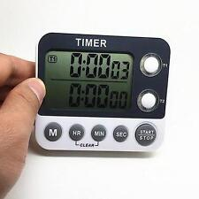 Dual Event Digital Timer Stopwatch for Kitchen Baking Business Gym LED Alert Q