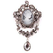 Vintage Rhinestone Retro Cameo Victorian Lady Bridal Brooches Jewellery Pin Gift